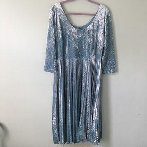 Baby Blue Suede 3/4 Sleeve Knee Length Tall Dress